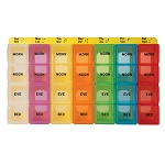 Large, Color Coded Weekly Medicine/Pill Planner, 4-Compartment | CMP-118