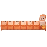 Large, weekly pill box has compartments for each day of the week. Item Measures: 5 1/2