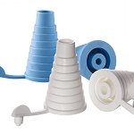 Blue and White Bottle Adapters Available in Bags of 25