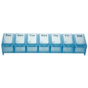 "AP-290 X-Large Weekly Pill Box, Item Measures: 6""L x 1 1/2""W x 1""D"
