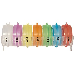 Pill organizer system has 7 colored, removable, translucent pill pods for each day of the week.